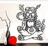 Vinilos Decorativos Salón Hippie Con Gafas Fumar Hierba Marihuana Símbolo De Paz...