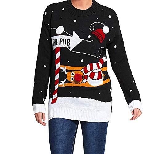 Mymixtrendz. Männer Weihnachten Neuheit Gestrickte Rentier Zu Der Kneipe Weihnachten Pullover Pullover Top S-2XL (Large, Pub pom Black)