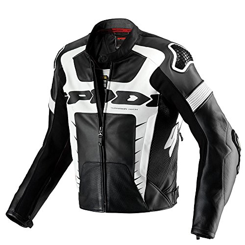 Spidi Warrior Pro piel jacket-black/color blanco