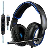 SADES R7 7,1 canal virtual USB Gaming Headset Surround estéreo con cable sobre oreja Gaming auriculares con MIC revolución volumen control de ruido cancelación de luz LED para PC/Mac/Laptop (negro/azu