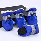 #8: Duopi Pet Dog Waterproof Winter Shoes Anti-Slip Rain Snow Boots Footwear Warm for Small Cats Dogs (32847879625_Blue-XXL)