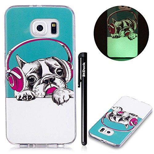 Galaxy S6 Hülle Silikon,BtDuck [Leuchten In Der Nacht] Ultra Dünn Weich Nacht-Leuchtende TPU Silikon Rückschale Schutz Hülle Silicon Tasche für Samsung Galaxy S6 Handyhüllen Silikon Niedlich Hund