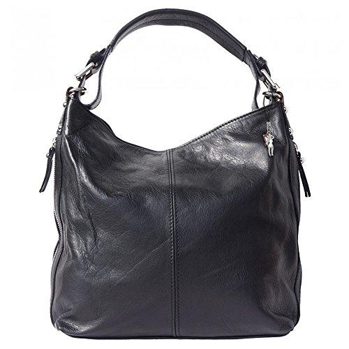 Beuteltasche Schultertasche Leder schwarz langer Trageriemen Handtasche Damen Umhängetasche Hobo Tasche DrachenLeder Made in italy OTF101S -