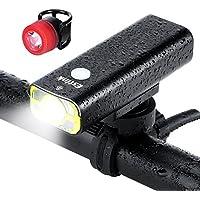 LED Fahrradbeleuchtung Set Fahrradlampe Fahrradlicht Set USB Aufladbar inkl. Frontlichter und Rücklicht, 600 Lumen 2500mAh IPX 5 Wasserdicht 5 Licht-Modi für Mountainbikes Straßenrädern Camping