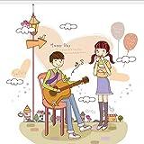 qazwsx Bricolage Maison Décoration Fille Écoute Garçon Jouant De La Guitare Bande Dessinée Couple Stickers Muraux Chambre Décoration Vinyle Stickers