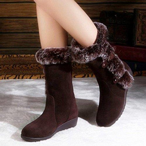 Cunei Stivali Singoli Invernali Boot Brown Donna Stivaletti Simpatici Neve Di Stivali Caldi Elegante Da Minetom Modo RT7Awqn