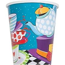 Unique Party -  Vasos de Papel - 266 ml - Fiesta del Té del Sombrerero Loco - Paquete de 8 (49506)