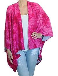 BRANDELIA Camisola Hippy Chic Túnica Kimono Estampado Batik Playa Bikini Cover up. Hecho de Artesanos en España.