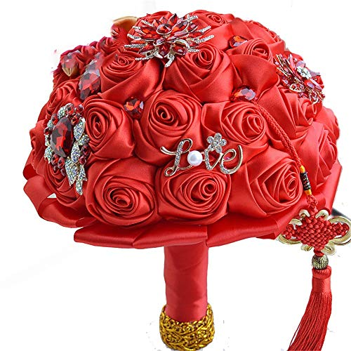 Brautstrauß Hochzeitssträuße rote chinesische Knoten Heritage Thema Hochzeit Brautstrauß Kristall Brosche Hochzeit Bouquet Silk Rose künstliche Blumen Blumen halten - Heritage Produkte Rose