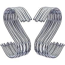 Outus 20 Pack S Ganchos Ganchos en Forma de S para Baño Dormitorio Oficina y Cocina