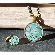Polarkind Vintage Schmuckset Geschenk zum Valentinstagaus Halskette Cabochon Ohrstecker 12mm Frühling handmade Wunschlänge