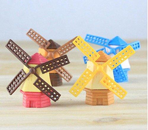 Gudhi Mini molinillo de viento de resina para decoración de jardín, diseño de dibujos animados color...