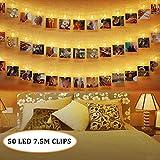 50 LEDs Foto Clips Lichterketten,SanGlory 7.5M LED Fotolichterkette Warmweiß 8 Modi Clip Bilder Lichterkette Batteriebetrieben für Party, Weihnachten, Dekoration,Hochzeit