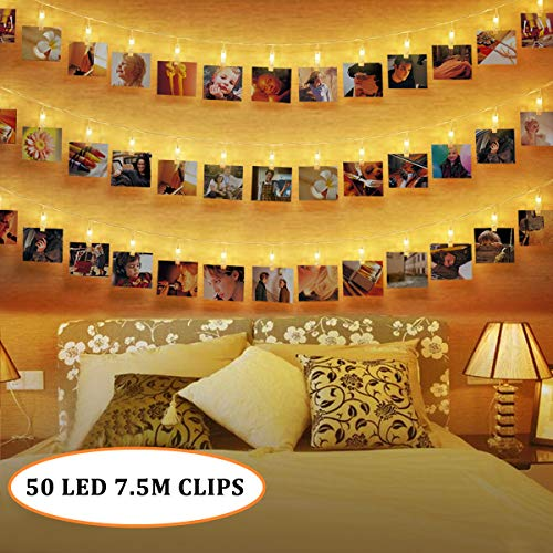 50 LEDs Foto Clips Lichterketten,SanGlory 7.5M LED Fotolichterkette Warmweiß 8 Modi Clip Bilder Lichterkette Batteriebetrieben für Party, Weihnachten, Dekoration,Hochzeit (Bilder Aufhängen Wand)