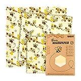 Carta cerata | Panno di cera d'api per imballaggi alimentari - riutilizzabile, lavabile e sostenibile! Confezione da 3 (25,5x28cm) alternativa ecologica al film adesivo e foglio di alluminio