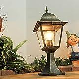 Rustikale Gartenlampe Antik Gold wetterfest E27 IP44 H:44cm Glas Aluminium Sockellampe Außen Weg Einfahrt