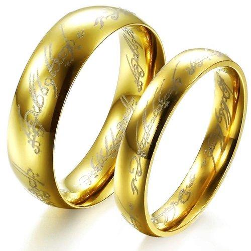 Fashion jewellery Il Signore degli Anelli-Couple GJ320 Jewelry-Anello nuziale in acciaio INOX, Anello da donna, 11, cod. PartialUpdate