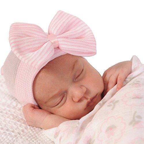 samidy-newborn-handmade-hat-knitted-crochet-cap-for-babies-0-3-months-infants-big-bow-headwrap-pink