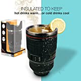 Thermos Mug, TwitFish Camera Lens Mug With Stainless Steel Thermos Lining and Sealable Biscuit Tray Cap (Black)