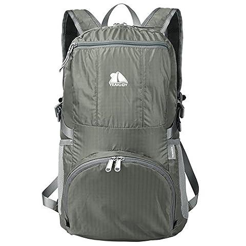 yeahjoy 35L de voyage léger pliable Gear Sac à dos de randonnée sac à dos pour l'école Voyage Air de transport de randonnée pour hommes et femmes, gris