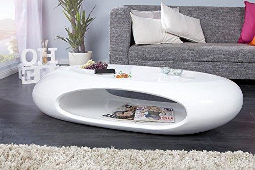 DuNord Design Couchtisch Sofatisch SELENITA weiss hochglanz Lack Design Tisch Lounge Möbel (Weißer Lack Tisch)