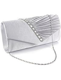 Bolso de Mano Elegante Clutch Satén con Decoración de Diamantes con Cadena plateado Desmontable para Cena Reunión Formal Boda Salida Nocturna Baile
