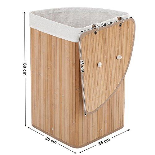 Songmics Bambus Wäschekorb, 58 Liter - 6
