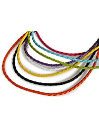 Lederhalsband Lederkette geflochten, 3 mm, 45 cm, verschiedene Farben, Metallverschluss