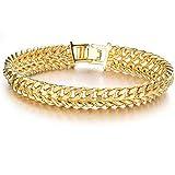 Destino Amor impresionante 18K amarillo chapado en oro doble cadena de trigo Enlace Pulsera de hombre, 7,87pulgadas