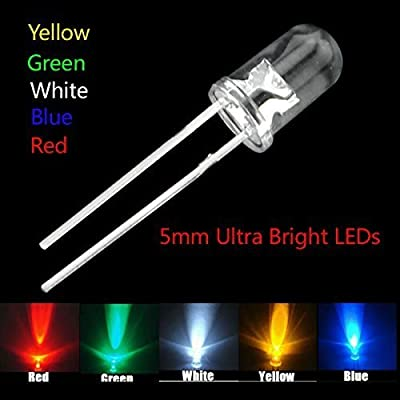 SHOPEE BRANDED 5mm Ultra Bright LED(Light Emitting Diode) White,Green,Red,Yellow,Blue Color Each 20Pcs Mix Total -100Pcs
