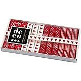 Decohobby - Collezione di nastri decorativi, colore: rosso/bianco