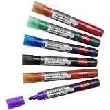 Nobo Liquid Ink Drywipe Markers Bullet Tip Assorted (6 Pack)