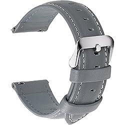 Fullmosa 14mm 16mm 18mm 19mm 20mm 22mm 24mm Bracelet Montre en Cuir Véritable, 12 Couleurs Axus Montre Bracelet à Dégagement Rapide,18mm Gris