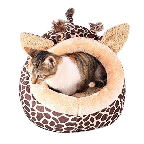 MAGIC UNION Hundehöhle Hundehöhle Tierbett Hundebett Hundesofa Korbmit Schlafplätze Kissen für Pet Hund Katze Haustier in Tiere Braun Giraffe und 3 Größen(S/M/L) wählbar - 4