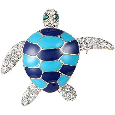 EVER FAITH Gold-Tone austriaco di cristallo dello smalto Lovely Little Sea Turtle Animal Spilla Pin Cancella N07717-1