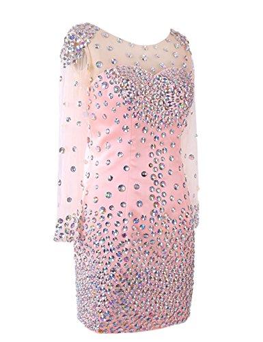 Dressystar Robe de soirée courte,modulante,perles,en satin,tulle Rose