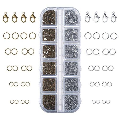 1104 Stück Schmuckzubehör Kit Hummer Klammern und Sprungringe für Schmuckherstellung, Bronze und Platin