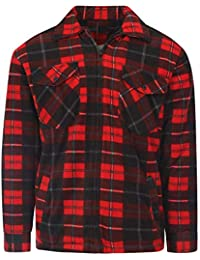 b2bc57364f596e Unisex Padded Shirts Lumberjack Collared Hooded Flannel Check Jacket Thick  Quilted Work Wear Warm…