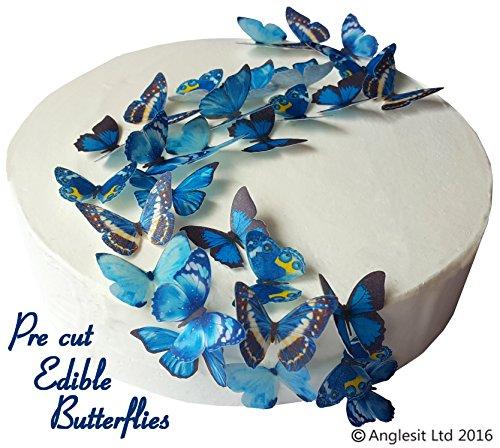 schöne blaue Schmetterlinge essbares Reispapier/Oblatenpapier Kuchendekoration, Dekoration für Cupcake Kuchen Dessert, für Geburtstag Party Hochzeit Babyparty (S) ()
