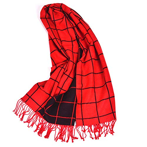 Easy Go Shopping New Damen Schal Herbst Winter Plaid Doppelseitige Schal Frauen Dicke Quaste Zwei-Farben-Schal Warmer Schal (Farbe : Red and Black) Plaid Fashion Damen Schals