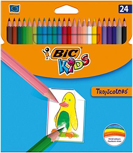 BIC Kids 9375182 Buntstift Tropicolors, 24-farbig sortiert, Kartonetui, 24 Stück