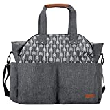 Lekebaby Baby Nappy Changing Bag Use As Purse and Messenger Bag for Moms and Girls in Grey, Arrow Print