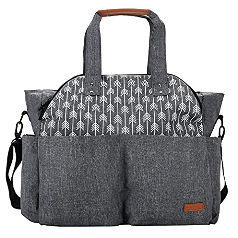 Lekebaby Baby Nappy Changing Bag Use As Purse and Messenger Bag for Moms and Girls in Grey, Arrow