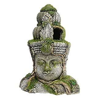 Rosewood Polyresin Moss Covered Stone Head Aquarium Ornament, Small 7