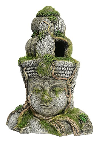 Rosewood Polyresin Moss Covered Stone Head Aquarium Ornament, Small 1