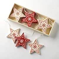 Box of 12 Traditional Vintage Style Red/Cream Wooden Star Shapes Christmas Tree Decorations by Heaven Sends