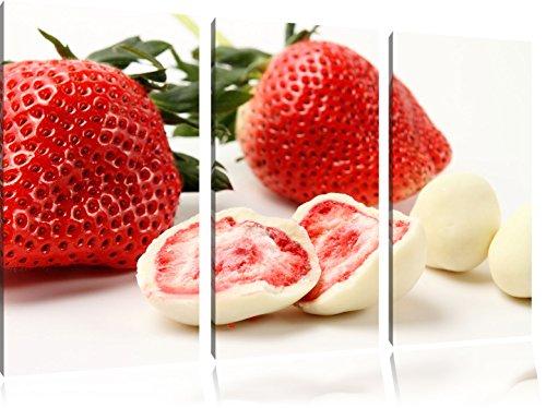 Köstliche Erdbeeren mit Schokolade umhüllt 3-Teiler Leinwandbild 120x80 Bild auf Leinwand, XXL riesige Bilder fertig gerahmt mit Keilrahmen, Kunstdruck auf Wandbild mit Rahmen, gänstiger als Gemälde oder Ölbild, kein Poster oder Plakat -