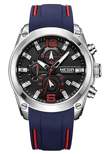 MEGIR – Montre Sport Homme Quartz Stéréoscopique Lumineux Mode Bracelet Silicone Étanche Classique Alliage Boucle Chrono Date Cadeau – Bleu et Noir