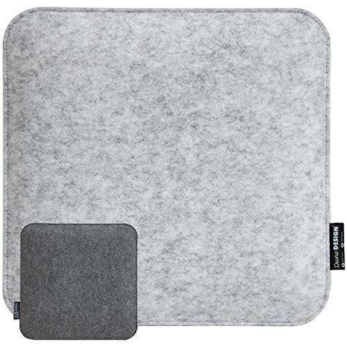 Dunedesign cuscino di feltro per sedia 35x35x2,5 cm quadrato bicolore grigio