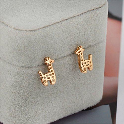 QIYUN.Z Femmes Mignonnes Or / Cuivre Goujons Girafe D'Oreille Boucles D'Oreilles Plaque Or evide Dore